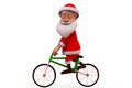 D santa claus cycle concept wtih white background side angle view Royalty Free Stock Images