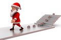 D santa claus gift on stairs concept wtih white background side angle view Royalty Free Stock Photos