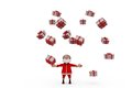 D santa claus many gifts concept wtih white background front angle view Royalty Free Stock Photos