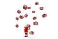 D santa claus many gifts concept wtih white background side angle view Stock Image