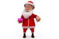 D santa claus piggy bank concept wtih white background front angle view Stock Photo