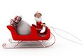 D santa claus sleigh concept wtih white background front angle view Stock Photography