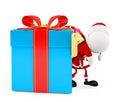D santa with gift box big Stock Photography