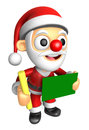 D santa mascot hand is holding a chalk and chalkboard d chris christmas character design series Stock Photos