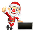 D santa mascot the left hand best gesture and right hand is hol holding a advert board christmas character design series Stock Photography