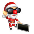 D santa mascot the right hand guides and the left hand is holdi holding a advert board christmas character design series Stock Photo