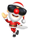 D santa mascot the right hand guides and the left hand is holdi holding a plate christmas character design series Stock Photo
