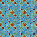3D seamless pattern of stars, sun, planets on a blue background