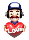 The d service man character holding hearts work and job design series Stock Image