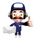 D service man mascot holding a large letter work and job character design series Stock Photos