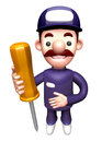 D service man mascot holding a large screwdriver work and job character design series Royalty Free Stock Image