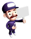 D service man mascot holding a signpost work and job character design series Stock Photography