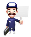 D service man mascot holding a signpost work and job character design series Royalty Free Stock Photos