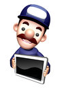 The d service man mascot shows the monitor work and job character design series Royalty Free Stock Photography