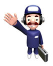 D service man mascot suggests the direction work and job character design series Royalty Free Stock Image