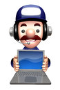 D service men mascot to promote laptop work and job character design series Stock Photos