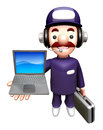 D service men mascot to promote laptop work and job character design series Royalty Free Stock Image