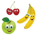 D set of vector fruits apple cherry banana and with facial expressions Royalty Free Stock Images