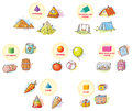 3d shapes with example objects from everyday life Royalty Free Stock Photo