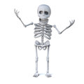 D skeleton is laughing and waving his boney arms in the air render of a Stock Image