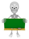 D skeleton mascot holding a big board with both green chalkboard d skull character design series Stock Images