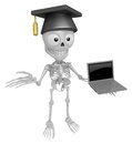 3D Skeleton Mascot the left hand guides and right hand is holdin