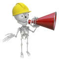 3D Skeleton Mascot is speakn through a megaphone. 3D Skull Chara Royalty Free Stock Photo
