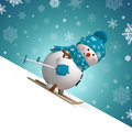 D skiing snowman christmas greeting card with cartoon sliding down the hill Stock Images