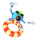 D sky blue camera character surfing on lifebuoy create robot series Stock Images