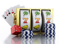 3d Slot machine with dice, cards and chips. Casino concept. Royalty Free Stock Photo
