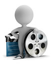 D small people cinema clapper and film tape person standing next to image white background Royalty Free Stock Photos