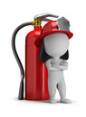 D small people fireman and a large extinguisher person standing next to image white background Royalty Free Stock Photography