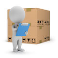D small people warehouse services person with clipboard and boxes image white background Royalty Free Stock Photos