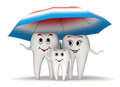 D smiling tooth family protection umbrella standing under a big toothpaste coated health concept Stock Photo