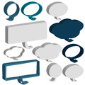 3D speech and thought bubbles on white background