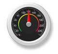 A d speedometer three dimensional with red arrow Stock Images
