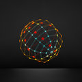 3d Sphere. Global Digital Connections. Technology Concept. Vector Illustration. Wireframe Object with Lines and Dots. Royalty Free Stock Photo
