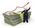 D succesful business man pack of money graph rendered waving near a with a red arrow Royalty Free Stock Photo