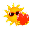 D sun love render of the hugging a heart Stock Images