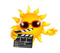 D sun movies render of with a clapperboard Royalty Free Stock Images
