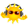 D sun tunes render of the wearing headphones Royalty Free Stock Photo