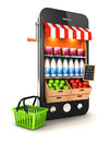 D supermarket smartphone white background image Royalty Free Stock Photos