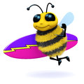 D surfer bee render of a with a surfboard Royalty Free Stock Photo