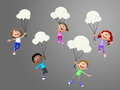D talkative kids hanging from chat bubbles Stock Image