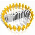 D teamwork concept human characters standing in circle and letters great as community Royalty Free Stock Photo