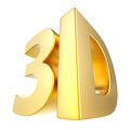 3D technology gold sign Royalty Free Stock Photo