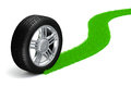 D tire and alloy wheel on white background Stock Images