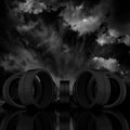 D tire on a dark sky background Royalty Free Stock Photography