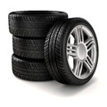 D tires on black background Stock Images