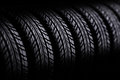 D tires on black background Royalty Free Stock Photo